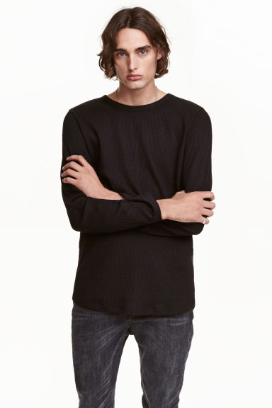 Waffled long-sleeved T-shirt - Black - Men | H&M CN 1