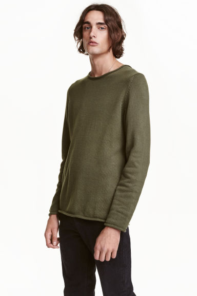 Fine-knit cotton jumper - Khaki green - Men | H&M CN 1