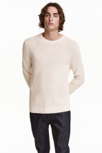Textured-knit jumper - Natural white - Men | H&M CN 1