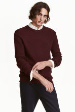 Jumper in a textured knit - Burgundy - Men | H&M CN 1