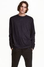 Wool-blend sweatshirt - Dark blue/Striped - Men | H&M GB 1