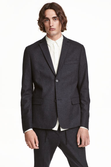 Blazer in misto lana Slim fit - Grigio scuro - UOMO | H&M IT 1