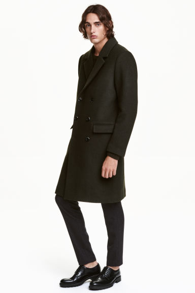 Double-breasted wool-mix coat - Dark khaki green - Men | H&M GB