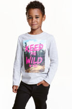 Long-sleeved printed T-shirt - Light grey marl - Kids | H&M CN 1