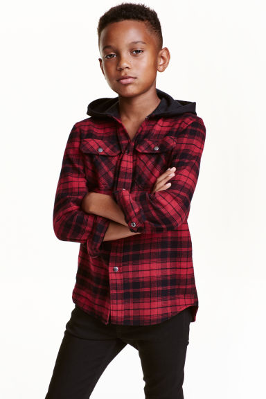 Flannel shirt with a hood - Red/Checked - Kids | H&M CN 1