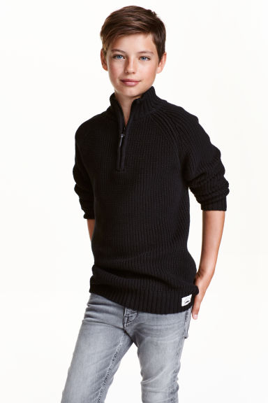 Rib-knit jumper - Black - Kids | H&M CN