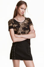 Jersey crêpe top - Black/Leopard print - Ladies | H&M CN 1