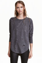 Trashed top - Donkergrijs - DAMES | H&M BE 2