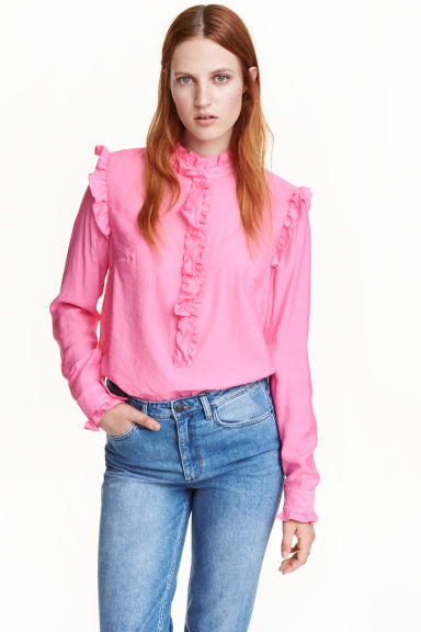 Frilled blouse - Pink - Ladies | H&M CN 1