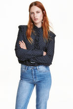 Frilled blouse - Dark blue/Spotted - Ladies | H&M CN 1