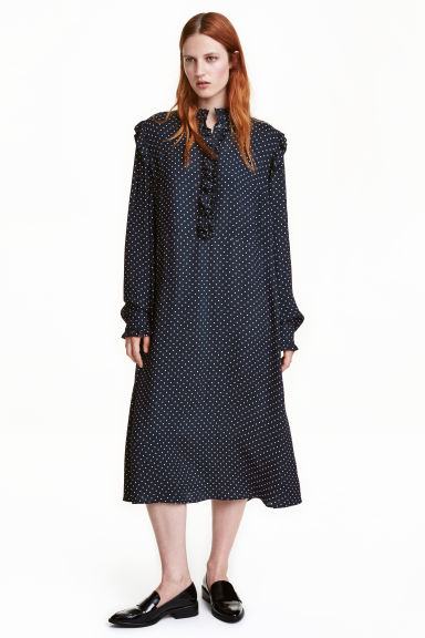 Frilled dress - Dark blue/Spotted - Ladies | H&M CN 1