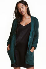 Chunky-knit cardigan - Emerald green - Ladies | H&M CN 1