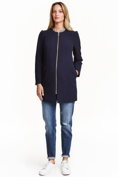 MAMA Short puff-sleeve coat - Dark blue - Ladies | H&M IE 1