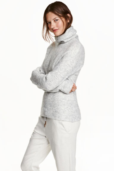 Knitted polo-neck jumper - Light grey marl - Ladies | H&M CN 1