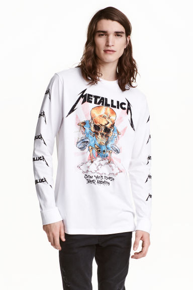 Long-sleeved T-shirt - White/Metallica -  | H&M CN 1