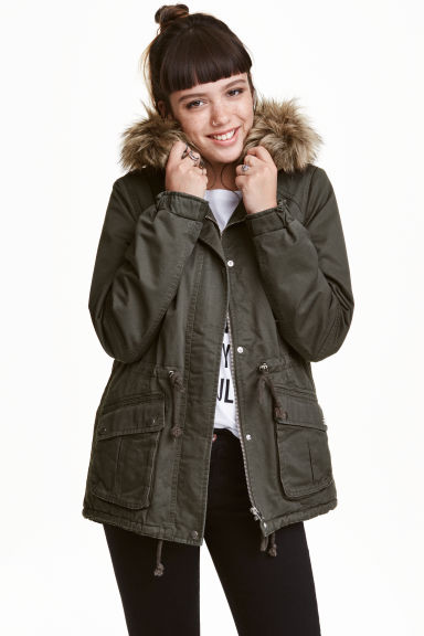Pile-lined parka - Khaki green - Ladies | H&M CN 1
