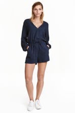 V-neck playsuit - Dark blue - Ladies | H&M CN 1