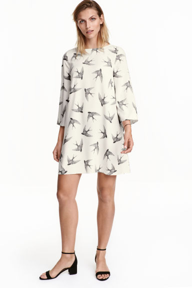 Patterned dress - Natural white/Birds - Ladies | H&M CN 1