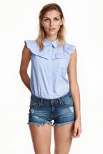 Cotton blouse - Light blue/Striped - Ladies | H&M CN 1