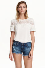 Jersey top with lace - White - Ladies | H&M CN 1