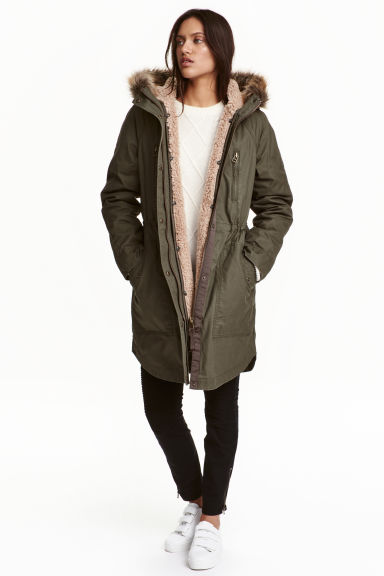 Parka with detachable lining - Khaki - Ladies | H&M CN 1