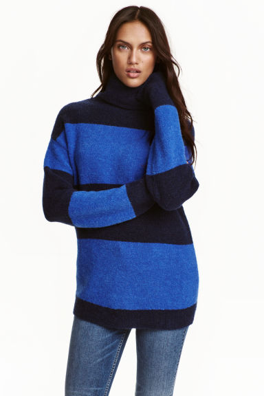 Pullover a collo alto - Blu/righe - DONNA | H&M IT 1