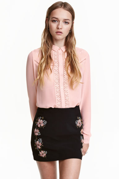 Embroidered blouse - Old rose - Ladies | H&M CN 1