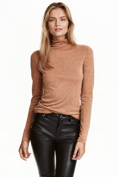 Fine-knit turtleneck jumper - Beige marl - Ladies | H&M GB 1