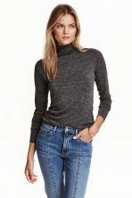 Fine-knit turtleneck jumper - Dark grey marl - Ladies | H&M CN 1