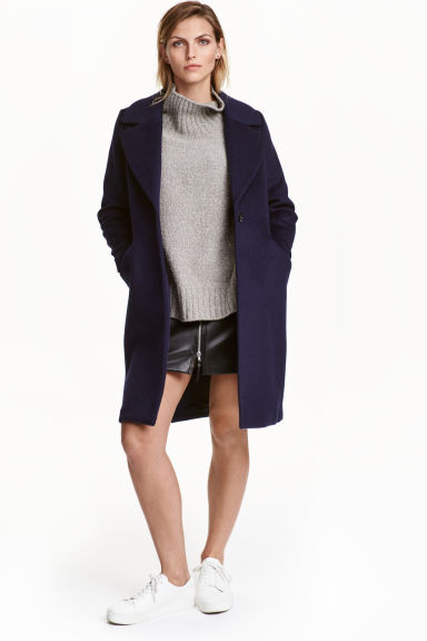 Cappotto in misto lana - Blu scuro - DONNA | H&M IT 1