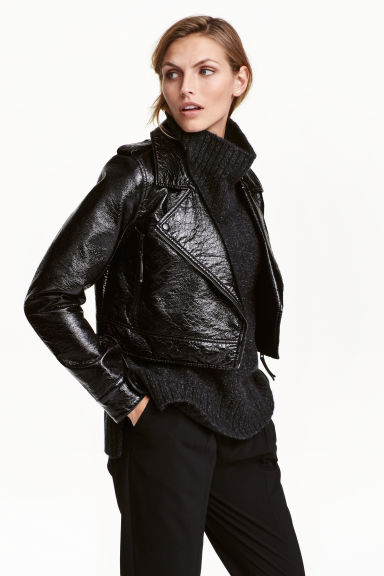 Coated biker jacket - Black -  | H&M CN 1