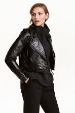 Coated biker jacket - Black -  | H&M CA 1