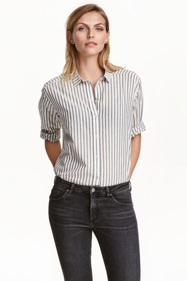 Cotton shirt - Dark grey/Striped - Ladies | H&M CA 1