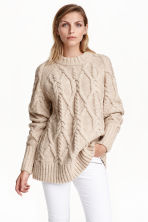 Cable-knit jumper - Light beige -  | H&M GB 1