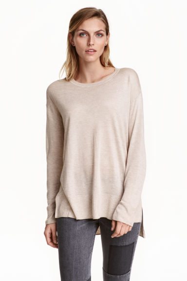 Fine-knit jumper - Light beige marl -  | H&M CA 1