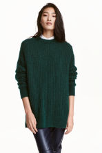 Oversized mohair-blend jumper - Dark green marl - Ladies | H&M GB 1