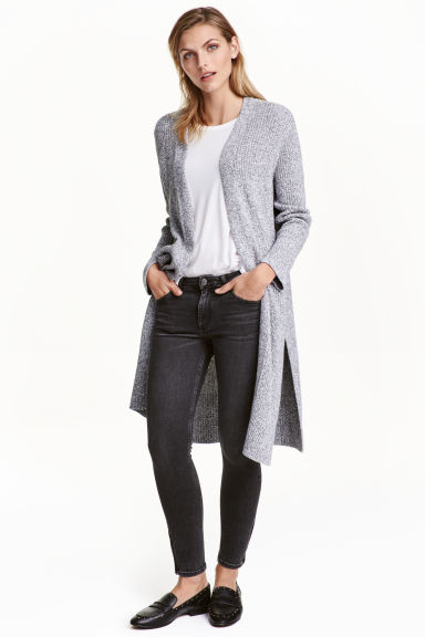 Long cardigan - Black/White marl -  | H&M GB 1