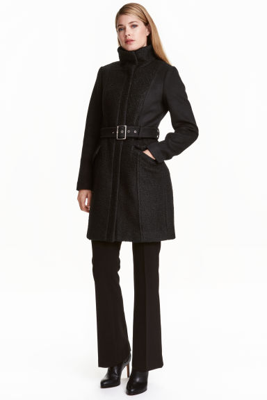 Short wool-blend coat - Black - Ladies | H&M CN 1