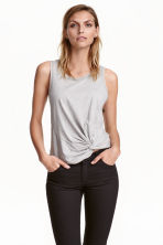 Top with tie detail - Grey marl - Ladies | H&M CN 1