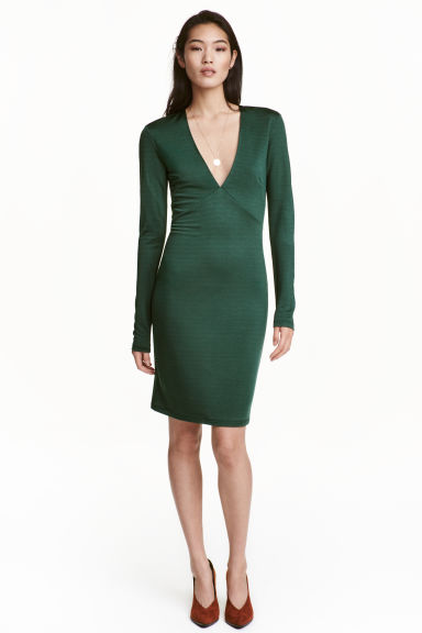 Fitted dress - Dark green - Ladies | H&M CN 1