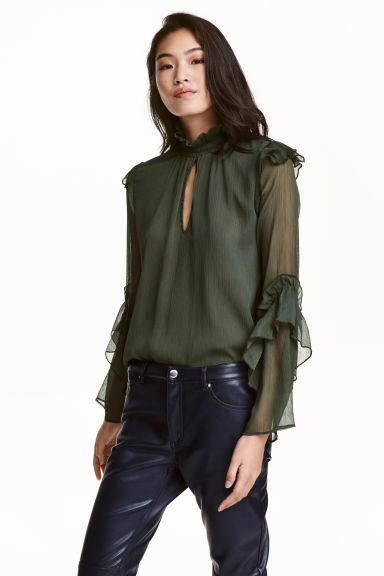 Crinkled flounced blouse - Dark green -  | H&M GB 1