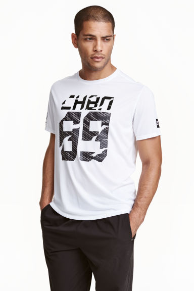 Short-sleeved sports top - White/Print - Men | H&M CN 1