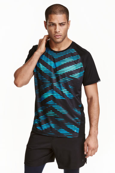 Short-sleeved running top - Black/Blue - Men | H&M CN 1