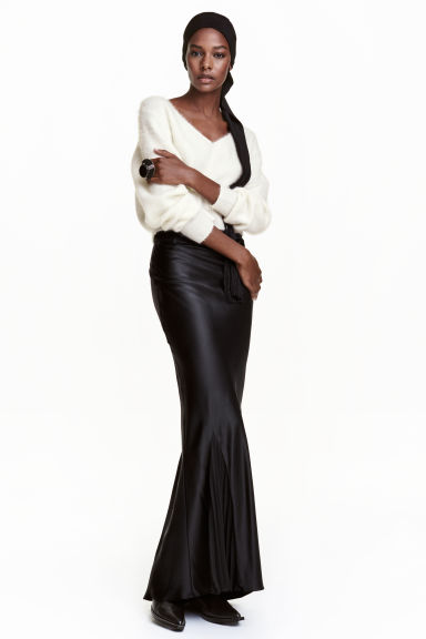 Long silk skirt - Black - Ladies | H&M GB 1