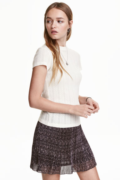 Pointelle top - Natural white - Ladies | H&M CN 1