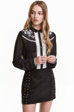 Embroidered blouse - Black - Ladies | H&M CN 1