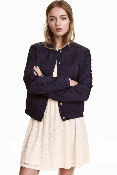 Quilted jacket with embroidery - Dark blue -  | H&M CN 1