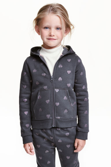 Hooded jacket - Dark grey/Hearts - Kids | H&M CN 1