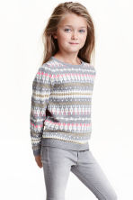 Knitted jumper - Grey/White - Kids | H&M CN 1