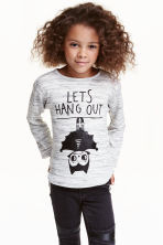 Fine-knit printed jumper - Grey marl/Bat - Kids | H&M CN 1